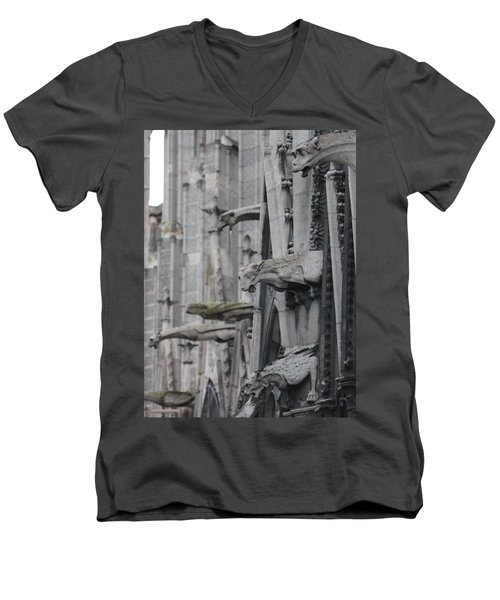 Men's V-Neck T-Shirt featuring the photograph Gargoyles North Notre Dame by Christopher Kirby
