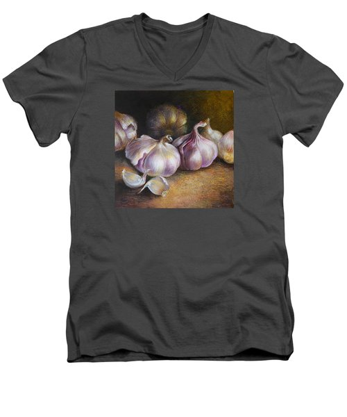 Garlic Painting Men's V-Neck T-Shirt by Vali Irina Ciobanu
