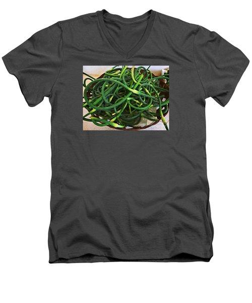 Garlic Stems Men's V-Neck T-Shirt by Dee Flouton
