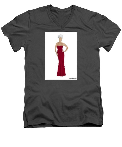 Men's V-Neck T-Shirt featuring the digital art Garnet by Nancy Levan