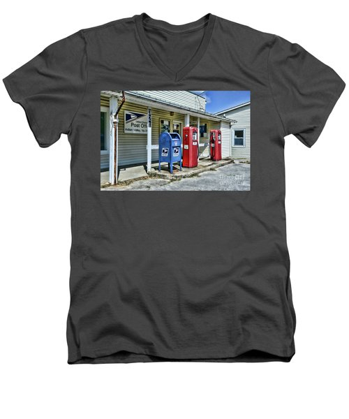Men's V-Neck T-Shirt featuring the photograph Gas And Mail by Paul Ward