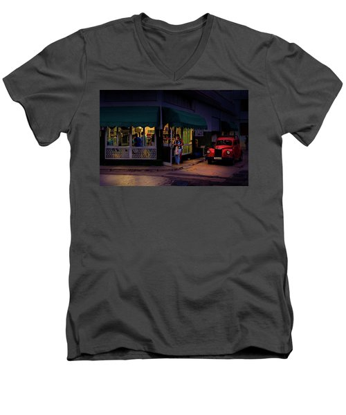 Men's V-Neck T-Shirt featuring the photograph Gasolinera Linea Y Calle E Havana Cuba by Charles Harden