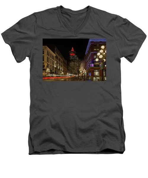 Gastown In Vancouver Bc At Night Men's V-Neck T-Shirt