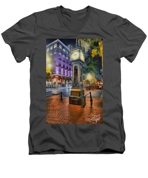 Men's V-Neck T-Shirt featuring the digital art Gastown Sreamclock 1 by Jim  Hatch