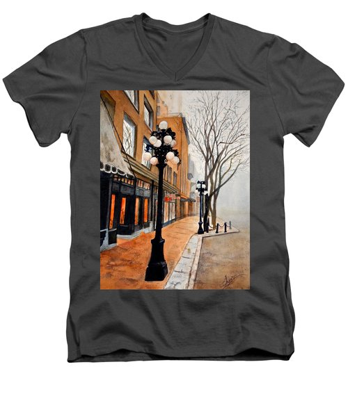 Men's V-Neck T-Shirt featuring the painting Gastown, Vancouver by Sher Nasser