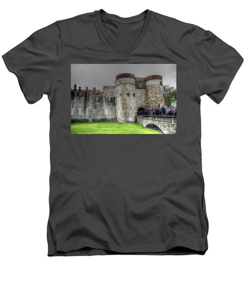 Gates To The Tower Of London Men's V-Neck T-Shirt by Karen McKenzie McAdoo