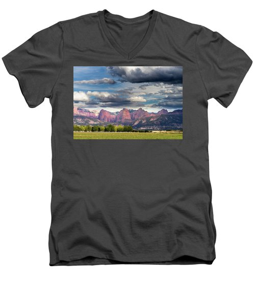 Gathering Storm Over The Fingers Of Kolob Men's V-Neck T-Shirt
