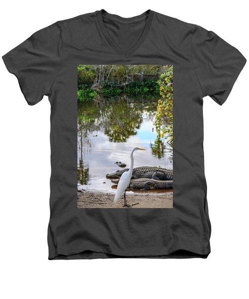 Gator Fam Men's V-Neck T-Shirt by Josy Cue