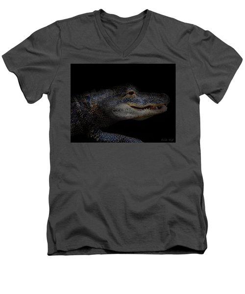Gator In Black Men's V-Neck T-Shirt