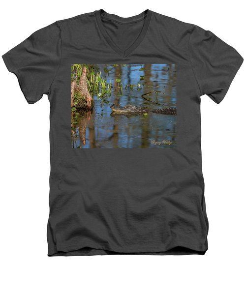 Men's V-Neck T-Shirt featuring the photograph Gator In Cypress Lake 3 by Gregory Daley  PPSA