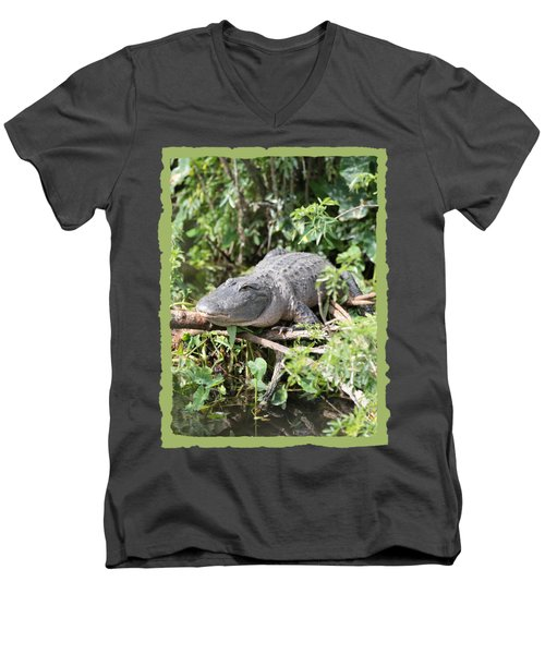 Gator In Green Men's V-Neck T-Shirt by Carol Groenen