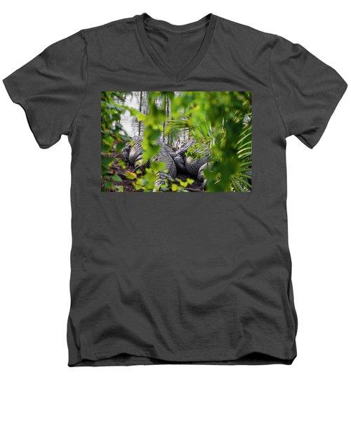 Gator Love Men's V-Neck T-Shirt by Josy Cue