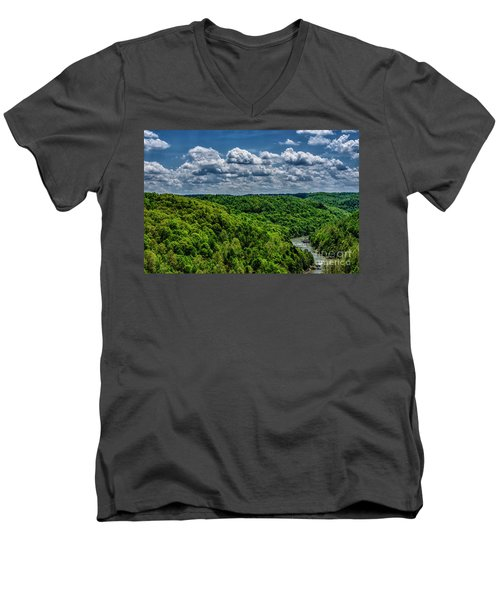 Gauley River Canyon And Clouds Men's V-Neck T-Shirt