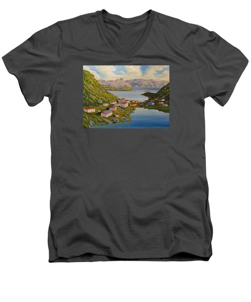 Gaultois Village Newfoundland Men's V-Neck T-Shirt