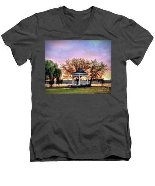 Gazebo Sunrise At Claytor Lake Men's V-Neck T-Shirt