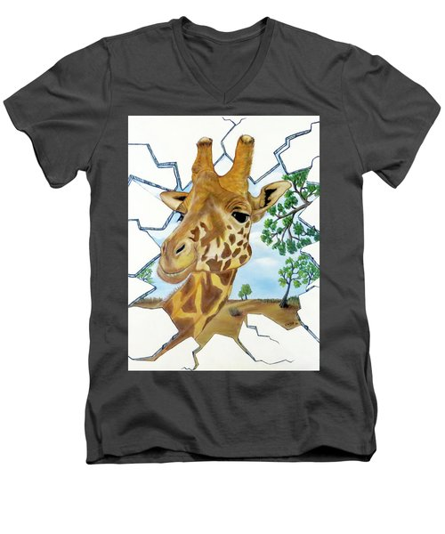 Men's V-Neck T-Shirt featuring the painting Gazing Giraffe by Teresa Wing