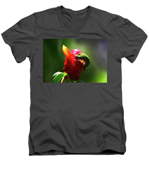 Men's V-Neck T-Shirt featuring the photograph Gecko #1 by Anthony Jones