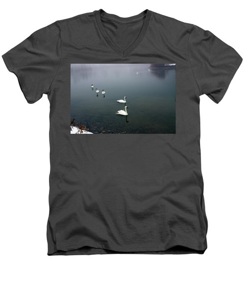 Geese In A Row Men's V-Neck T-Shirt