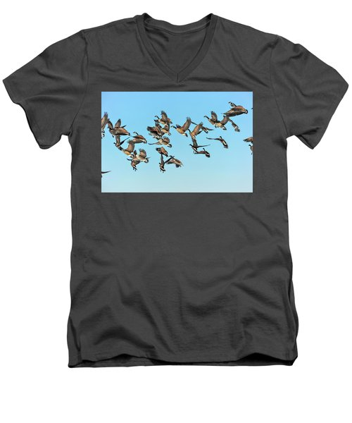 Geese In Flight Men's V-Neck T-Shirt