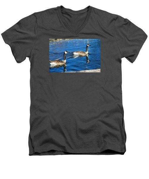 Men's V-Neck T-Shirt featuring the photograph Geese by Joan Bertucci