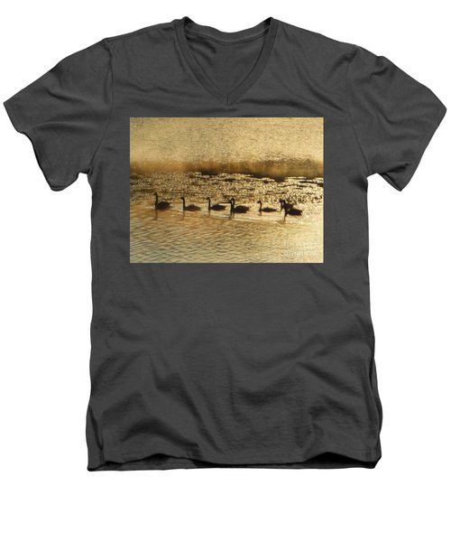 Men's V-Neck T-Shirt featuring the photograph Geese On Golden Pond by Rockin Docks Deluxephotos