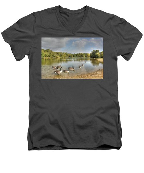 Geese On The Lake Hdr Men's V-Neck T-Shirt