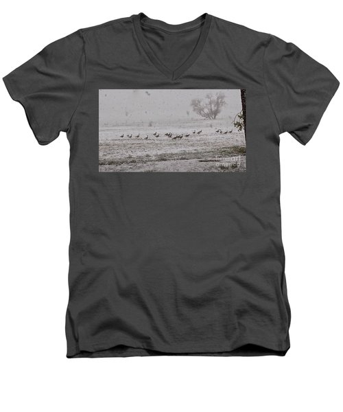 Geese Walking In The Snow Men's V-Neck T-Shirt