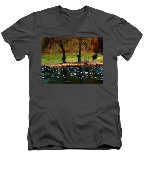 Geese Weeping Willows Men's V-Neck T-Shirt