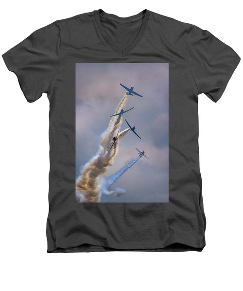 Men's V-Neck T-Shirt featuring the photograph Geico Skytypers Tree Of Smoke by Rick Berk