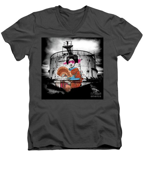 Men's V-Neck T-Shirt featuring the photograph Geisha Graffiti by Adrian Evans