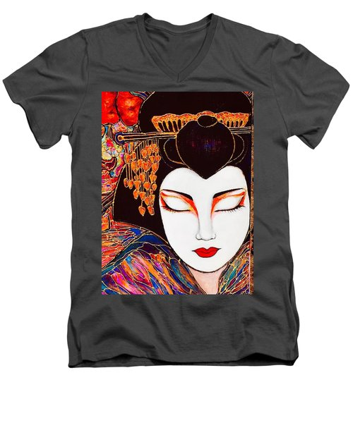 Men's V-Neck T-Shirt featuring the painting Geisha by Rae Chichilnitsky