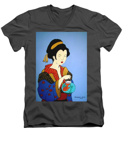 Men's V-Neck T-Shirt featuring the painting Geisha With Fish by Stephanie Moore