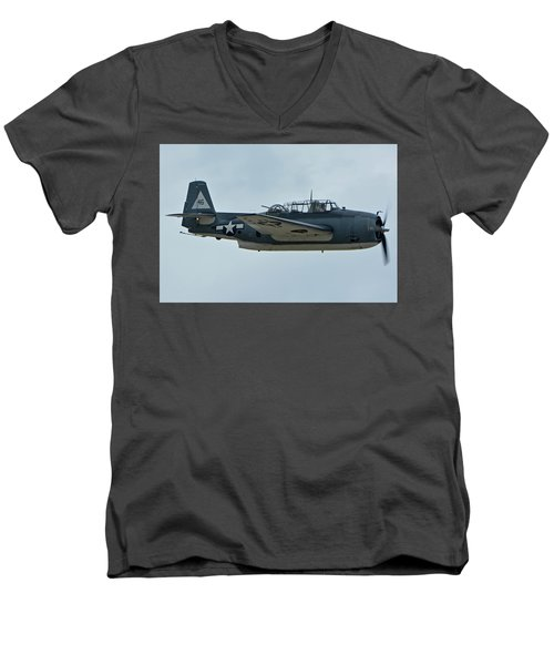 Men's V-Neck T-Shirt featuring the photograph General Motors Tbm-3e Avenger Nx7835c Chino California April 30 2016 by Brian Lockett