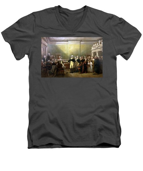 General Washington Resigning His Commission Men's V-Neck T-Shirt by War Is Hell Store