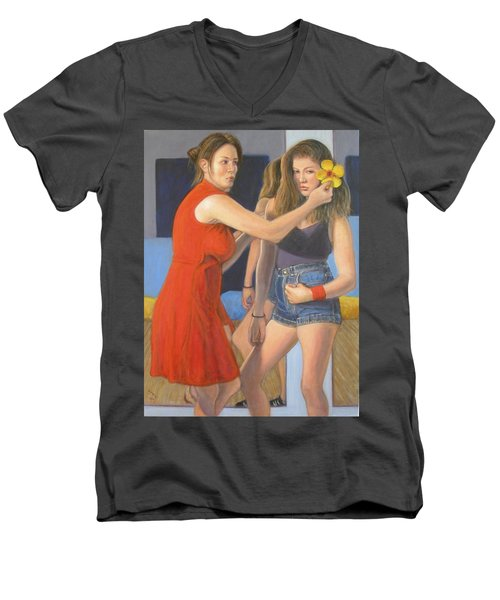 Men's V-Neck T-Shirt featuring the painting Generations #1 by Donelli  DiMaria