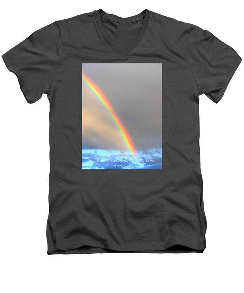Men's V-Neck T-Shirt featuring the photograph Genesis Rainbow by Lanita Williams