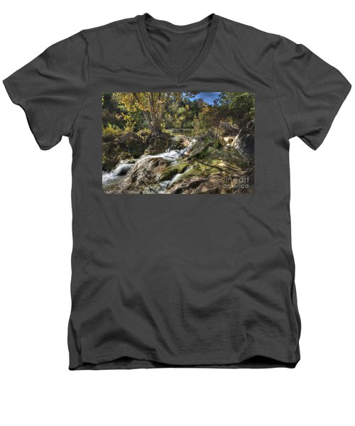 Gentle Mountain Stream Men's V-Neck T-Shirt by Tamyra Ayles