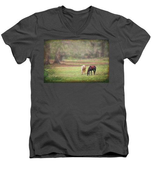 Men's V-Neck T-Shirt featuring the photograph Gently Grazing by Lewis Mann