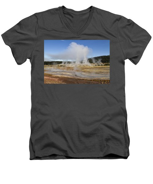 Gently Steaming Men's V-Neck T-Shirt by Shirley Mitchell