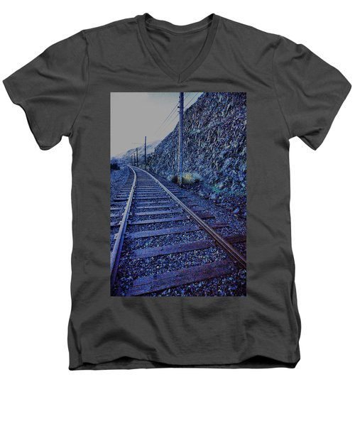 Men's V-Neck T-Shirt featuring the photograph Gently Winding Tracks by Jeff Swan