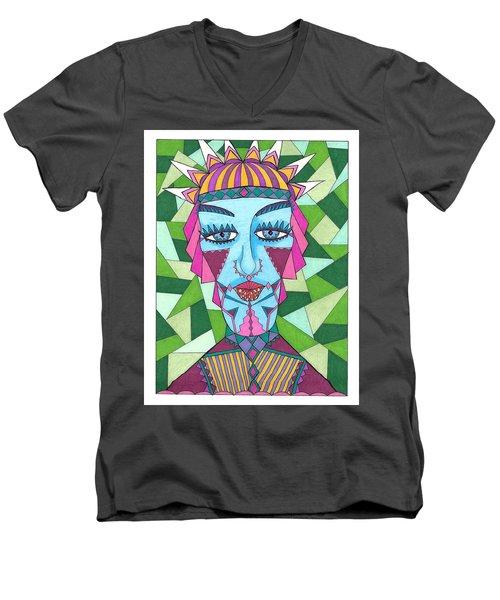 Geometric King Men's V-Neck T-Shirt