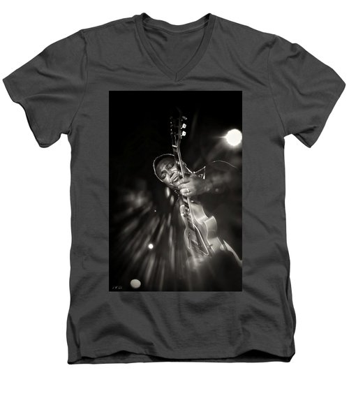 George Benson Black And White Men's V-Neck T-Shirt