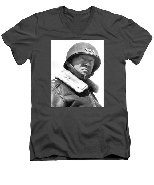 George S. Patton Unknown Date Men's V-Neck T-Shirt by David Lee Guss