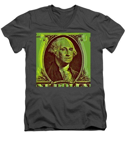 Men's V-Neck T-Shirt featuring the digital art George Washington - $1 Bill by Jean luc Comperat