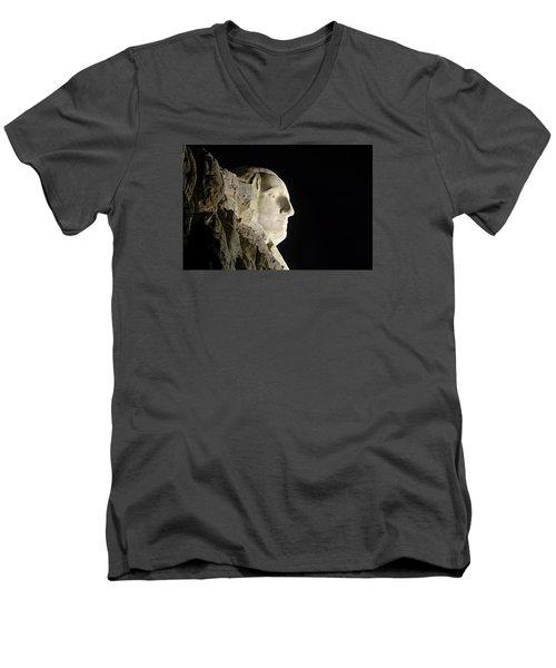 George Washington Profile At Night Men's V-Neck T-Shirt by David Lawson