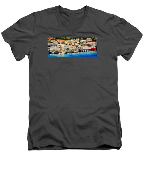 Georgetown Harbor, Grenada Men's V-Neck T-Shirt