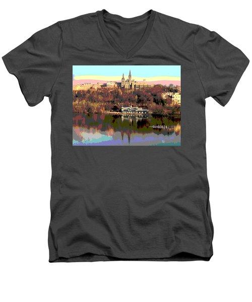 Georgetown University Crew Team Men's V-Neck T-Shirt by Charles Shoup