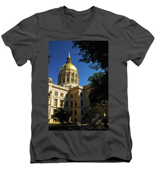 Georgia State Capitol Men's V-Neck T-Shirt by James Kirkikis