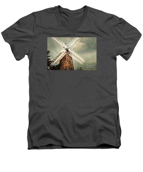 Men's V-Neck T-Shirt featuring the photograph Georgian Stone Windmill  by Jorgo Photography - Wall Art Gallery
