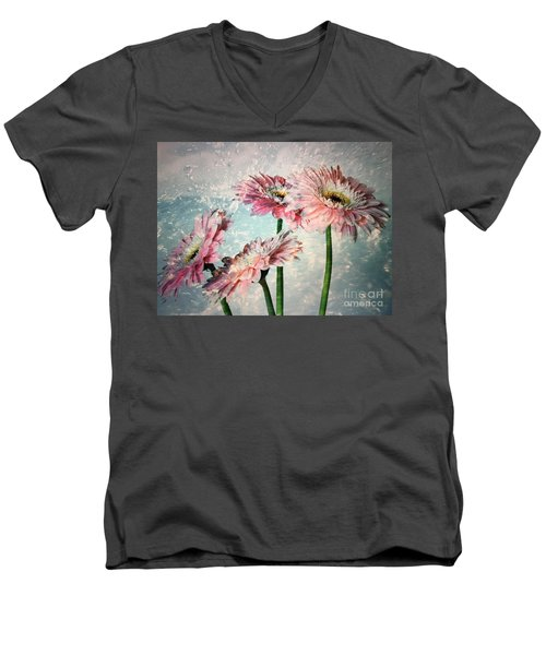 Gerbera Daisies With A Splash Men's V-Neck T-Shirt
